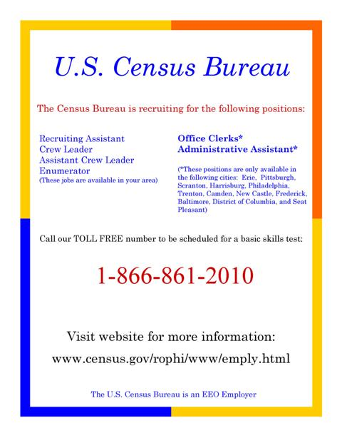 u s census bureau hiring thousands in our area melanian. Black Bedroom Furniture Sets. Home Design Ideas